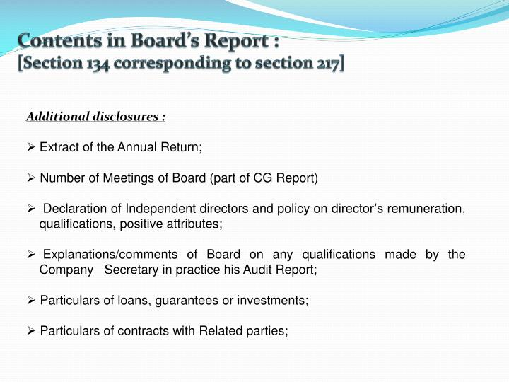 Contents in Board's Report :