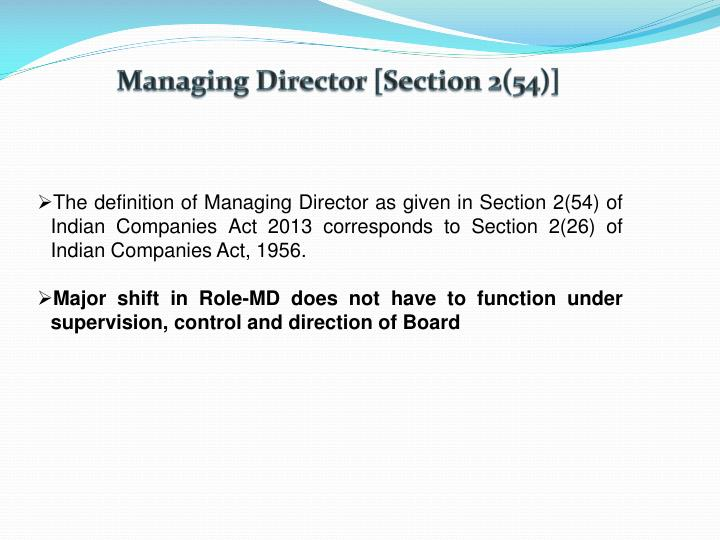 Managing Director [Section 2(54)]