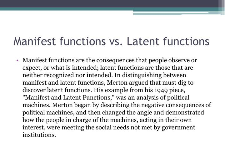 manifest latent function and dysfunctions Like all other institutions religious institutions too have manifest and latent  get complete information on manifest and latent  the function of.