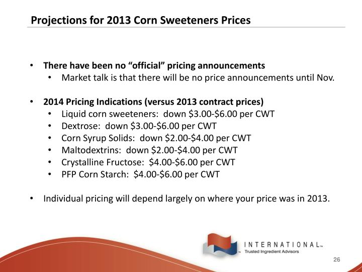 Projections for 2013 Corn Sweeteners Prices