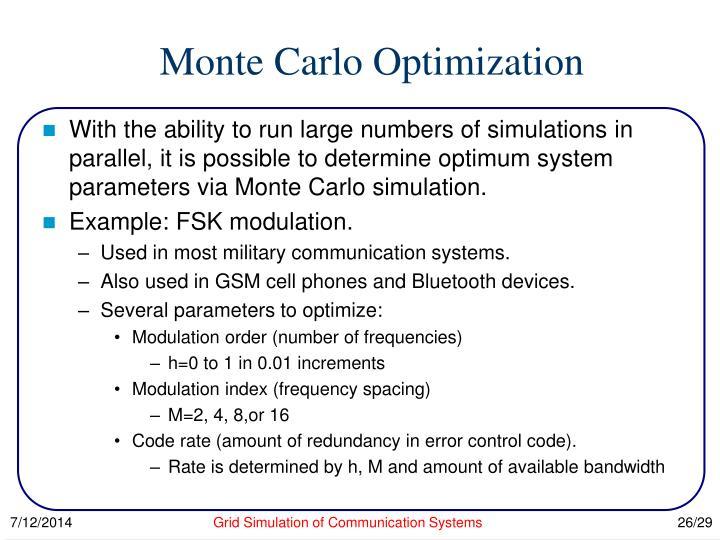 Monte Carlo Optimization