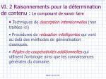 vi 2 raisonnements pour la d termination de contenu le composant de savoir faire