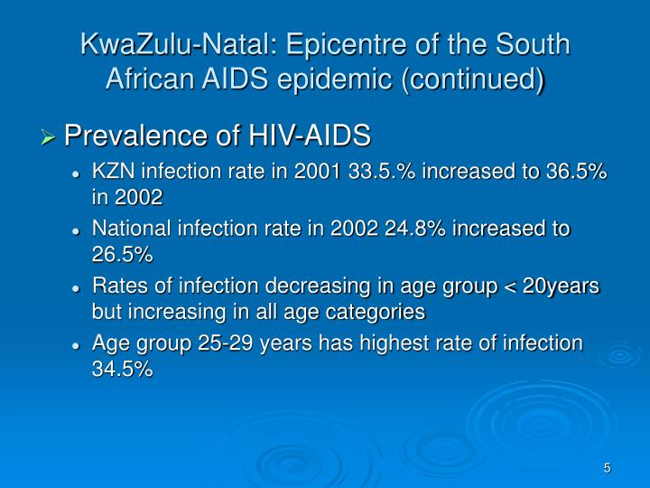KwaZulu-Natal: Epicentre of the South African AIDS epidemic (continued)