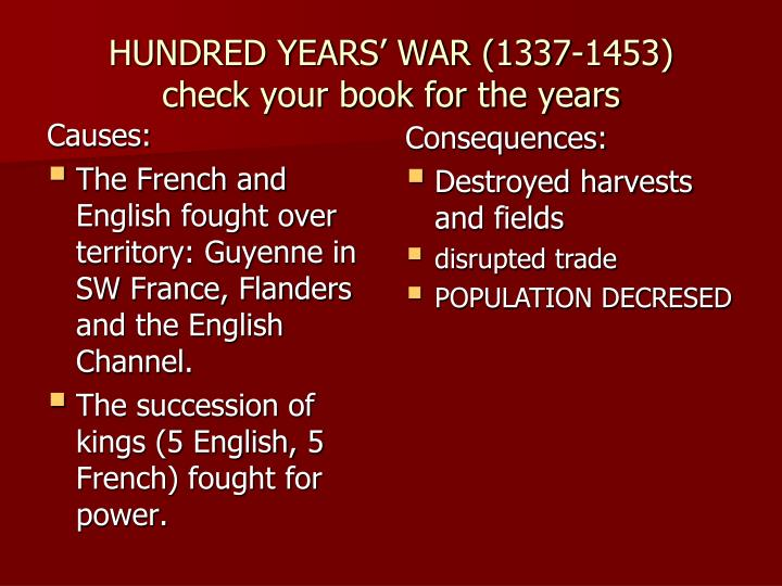 causes and consequences of the french The causes of the french and indian war the end of the french threat 1 relations between england & the colonies had been positive until the 1760s 2.