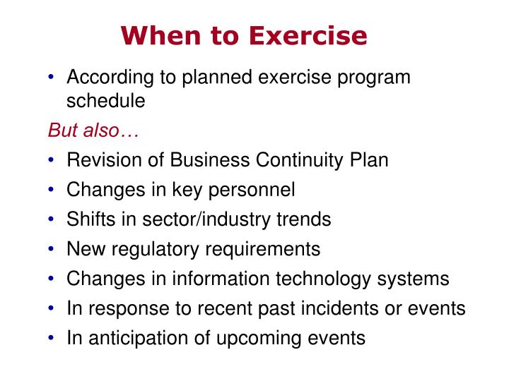 When to Exercise