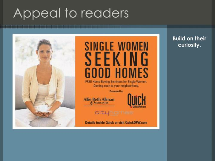 Appeal to readers