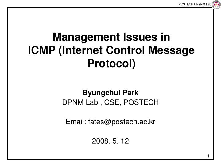 management issues in icmp internet control message protocol n.
