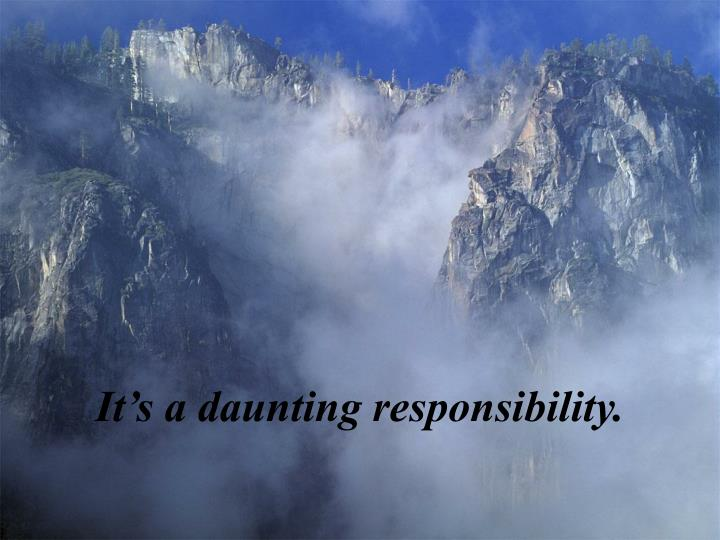 It's a daunting responsibility.