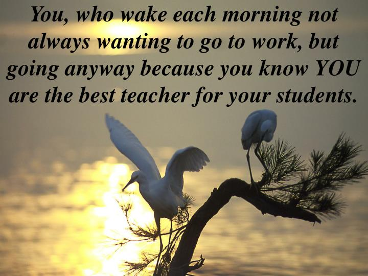 You, who wake each morning not always wanting to go to work, but going anyway because you know YOU a...