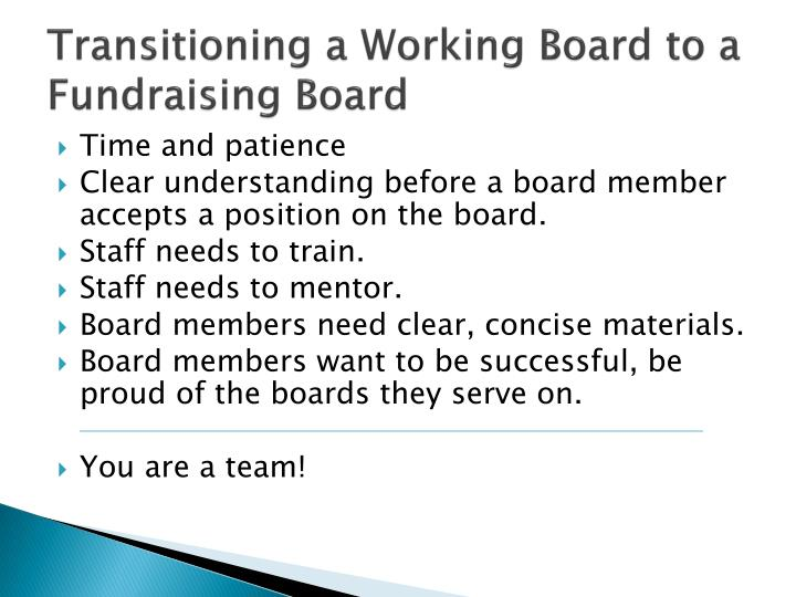Transitioning a Working Board to a Fundraising Board