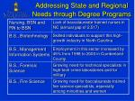 addressing state and regional needs through degree programs
