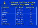 traditional first time students academic preparation sat
