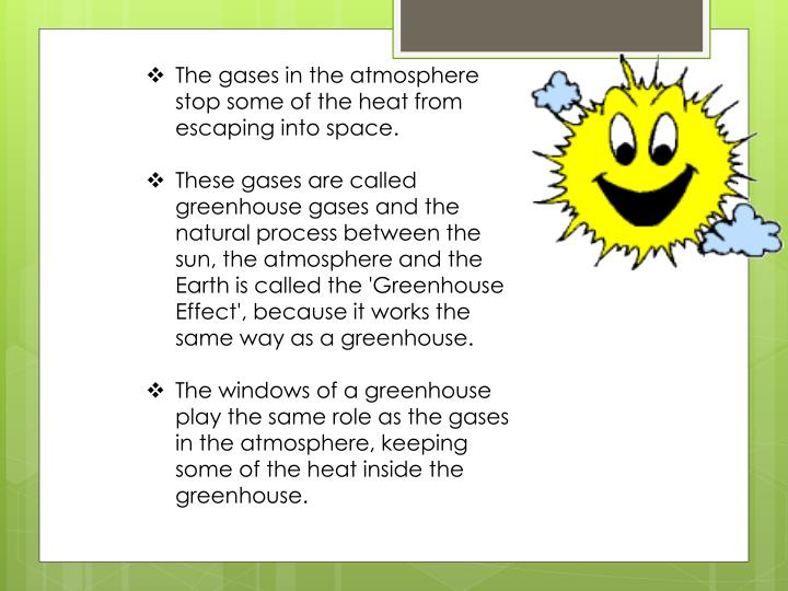 The gases in the atmosphere stop some of the heat from escaping into space.