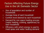 factors affecting future energy use in the uk domestic sector