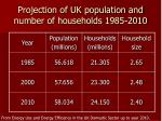 projection of uk population and number of households 1985 2010