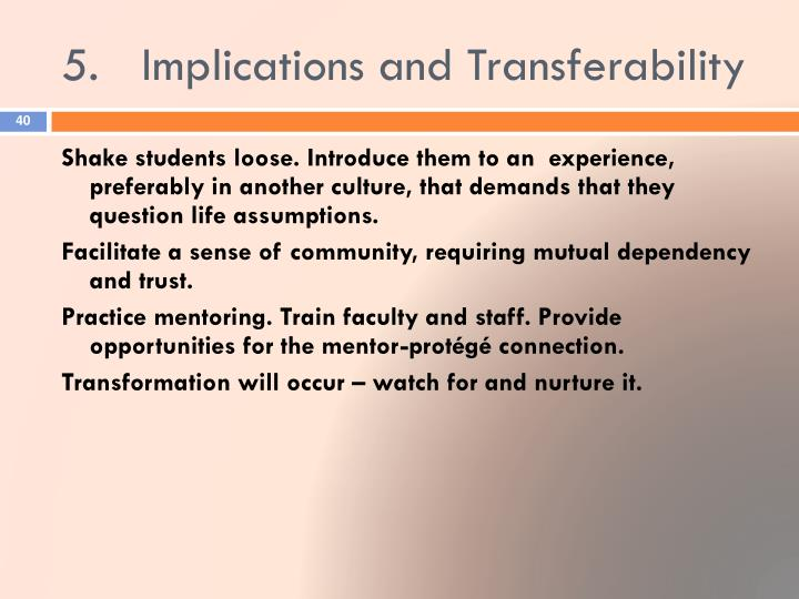 5.	Implications and Transferability
