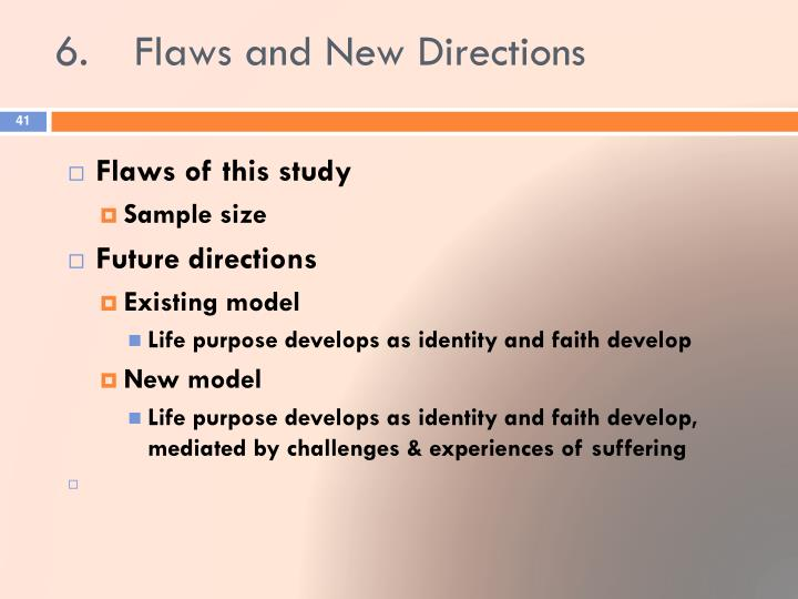 6.	Flaws and New Directions