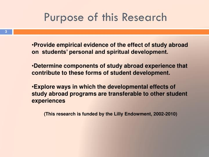 Purpose of this research