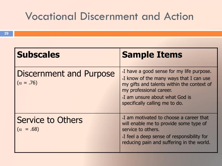 Vocational Discernment and Action
