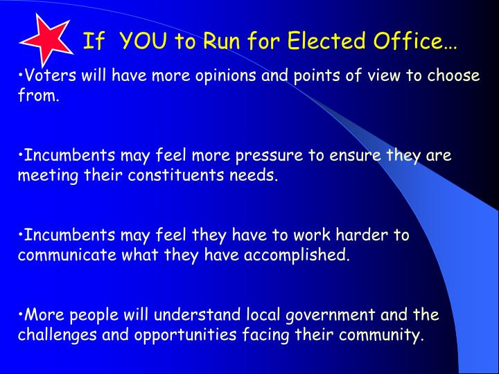If  YOU to Run for Elected Office…