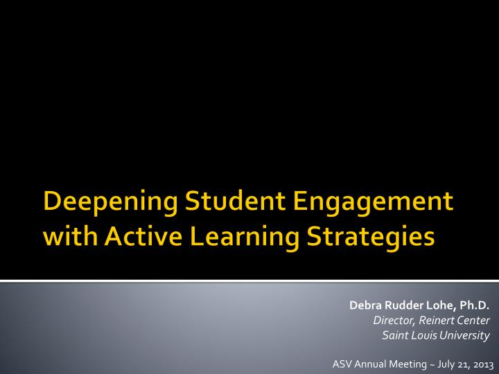 deepening student engagement with active learning strategies n.