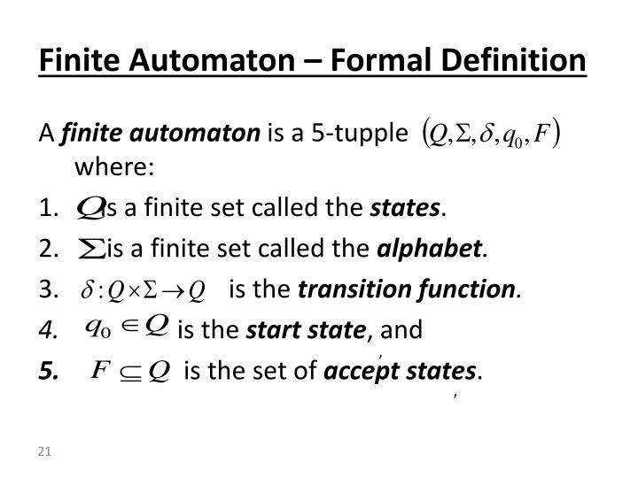 Finite Automaton – Formal Definition