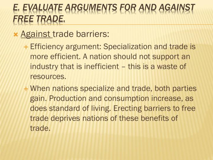 arguments against trade barriers