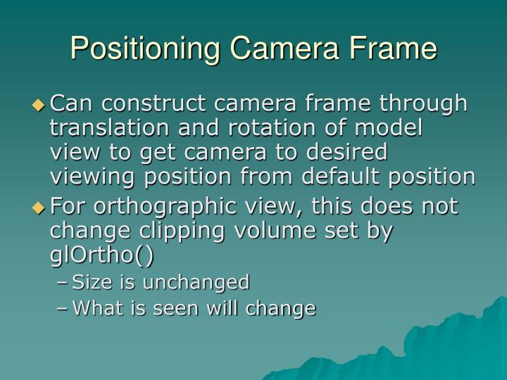 Positioning Camera Frame