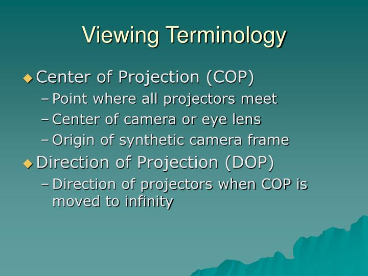 Viewing terminology
