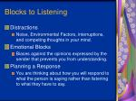 blocks to listening