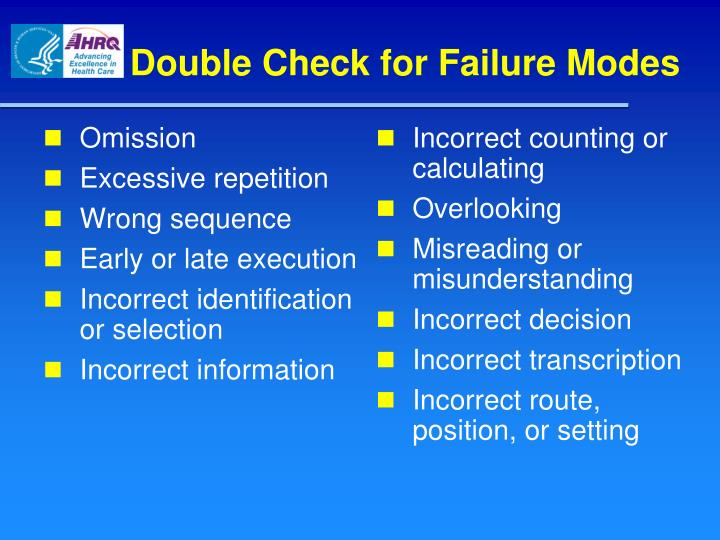 Double Check for Failure Modes