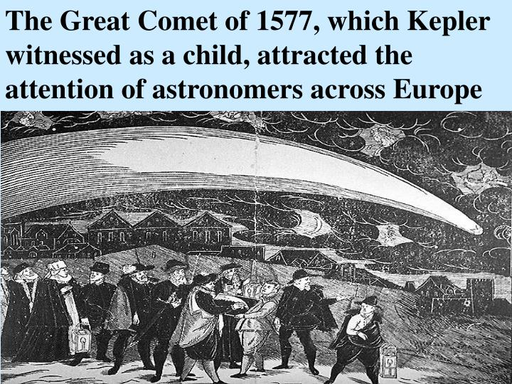 The Great Comet of 1577, which Kepler witnessed as a child, attracted the attention of astronomers a...