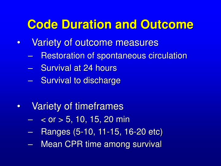 Code Duration and Outcome