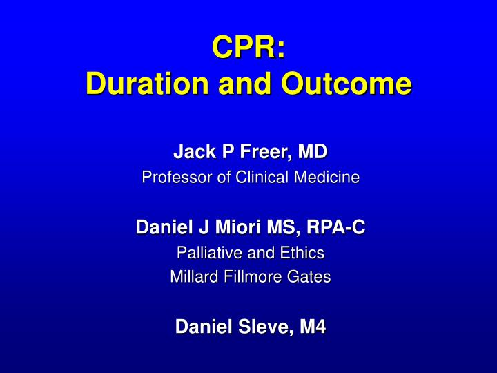Cpr duration and outcome