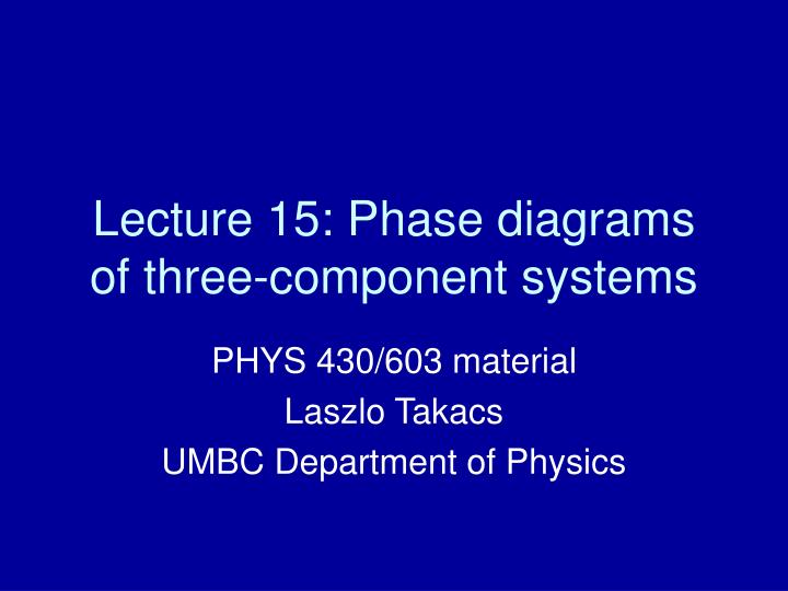Ppt Lecture 15 Phase Diagrams Of Three Component Systems