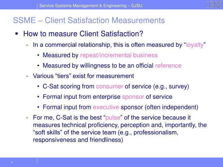 SSME – Client Satisfaction Measurements