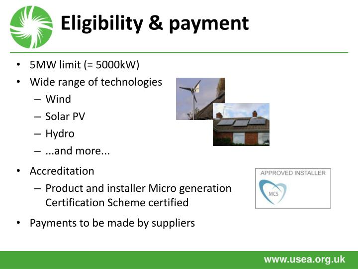 Eligibility & payment