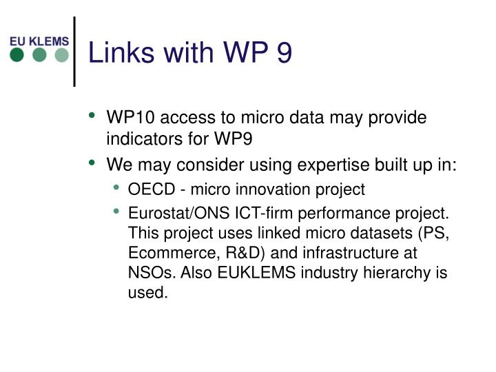 Links with WP 9