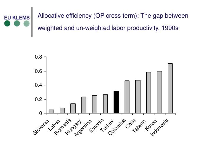 Allocative efficiency (OP cross term): The gap between weighted and un-weighted labor productivity, 1990s