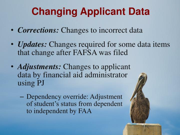 Changing Applicant Data