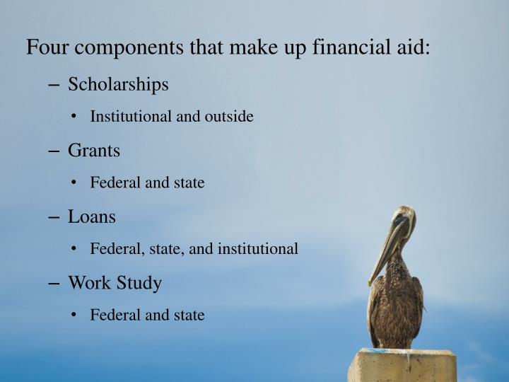 Four components that make up financial aid: