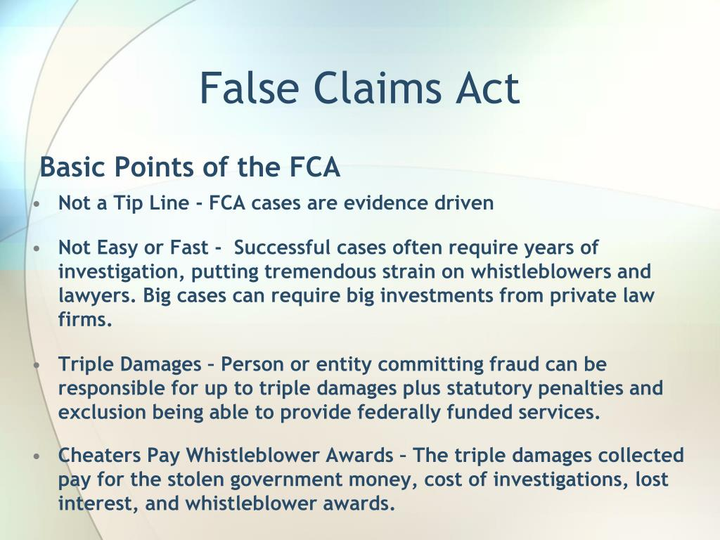 PPT - False Claims Act & Whistleblower Protection ...