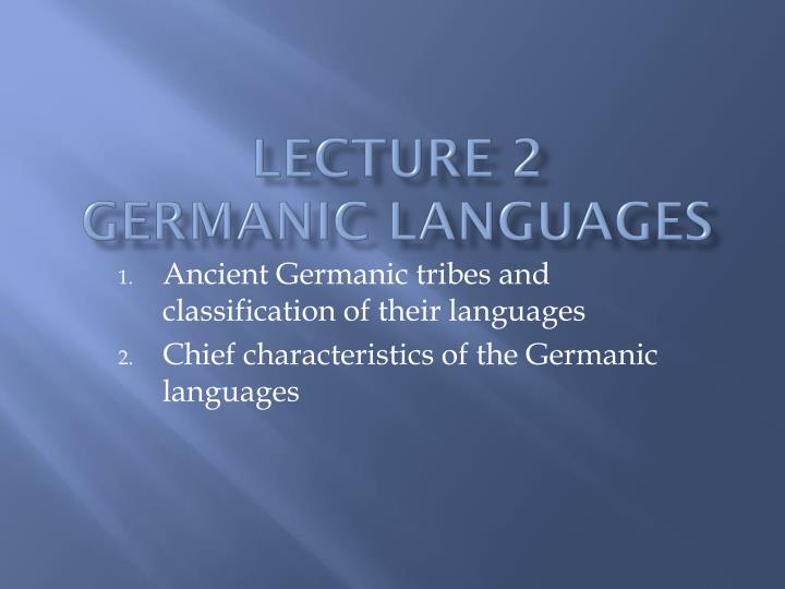 lecture 2 germanic languages n.