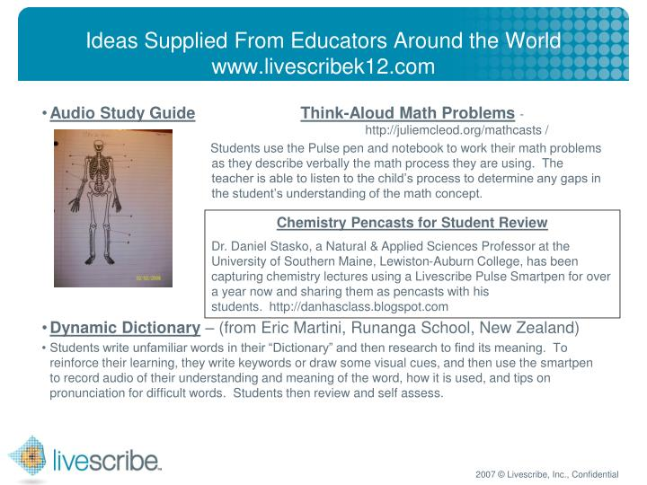 Ideas Supplied From Educators Around the World