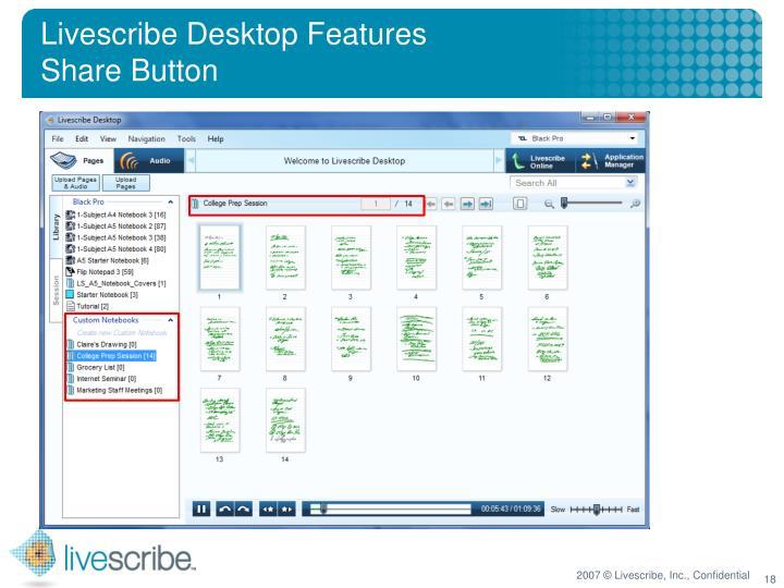Livescribe Desktop Features