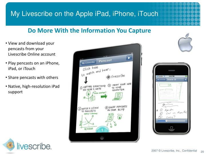 My Livescribe on the Apple iPad, iPhone, iTouch