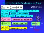 high p t particle production in a a