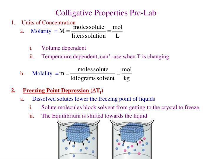 colligative properties freezing point depression and Start studying lab #6 colligative properties: freezing point depression and molar mass learn vocabulary, terms, and more with flashcards, games, and other study tools.