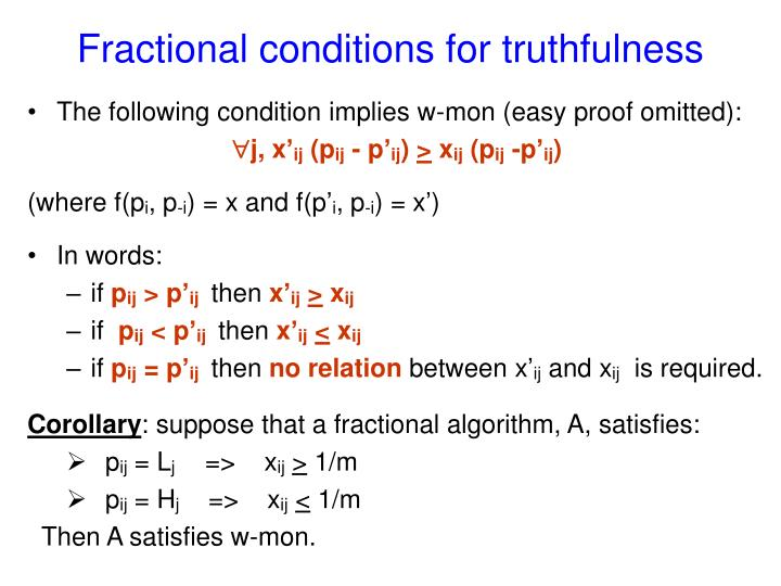 Fractional conditions for truthfulness