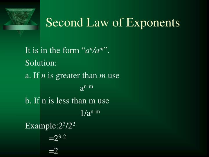 Second Law of Exponents